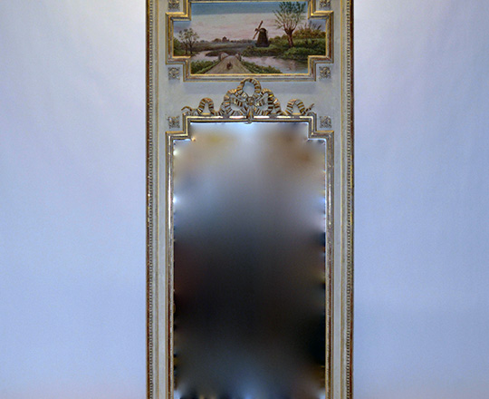 Lot 116: Ealy cent Louis XVI painted trumeau with gilt highlights and countryside landscape painting above. H193 x W88cm.