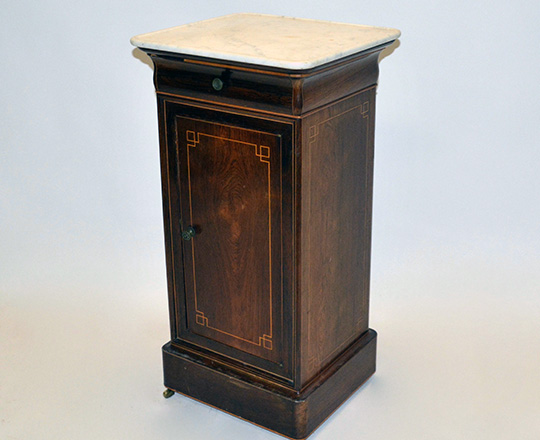 Lot 122_1: Early 19th cent Charles X white marble top, rosewood single door/drawer side table. H79xW41xD38cm