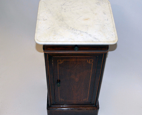 Lot 122_2: Early 19th cent Charles X white marble top, rosewood single door/drawer side table. H79xW41xD38cm