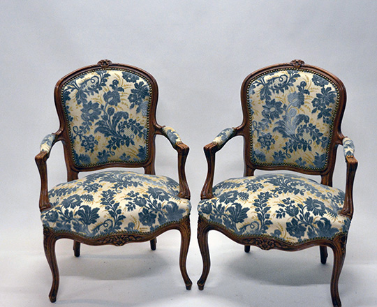Lot 142: Pair early cent Louis XV finely carved armchairs with (struck?) velvet.