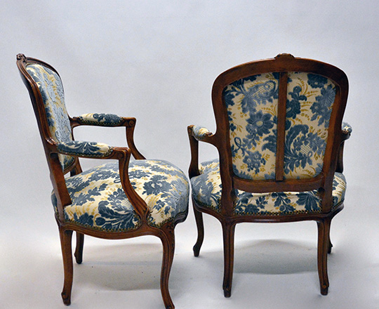 Lot 142_1: Pair early cent Louis XV finely carved armchairs with (struck?) velvet.