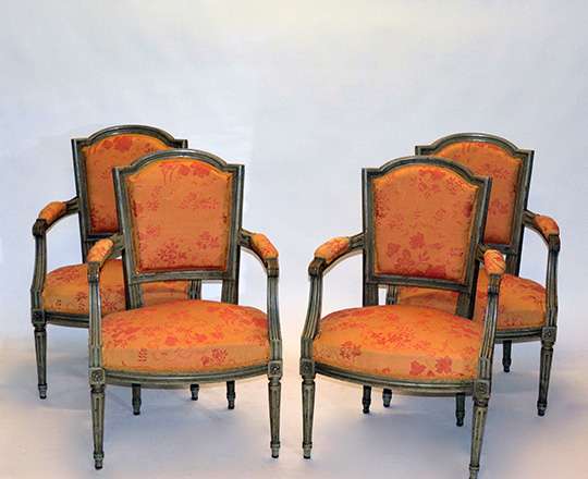 Lot 144_2: Pr 19th cent painted Louis XVI chairs covered by salmon color floral pattern tissue.