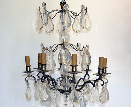 Lot 145: Early/mid cent three stages six light crystal bronze 'cage' chandelier. H65cm.