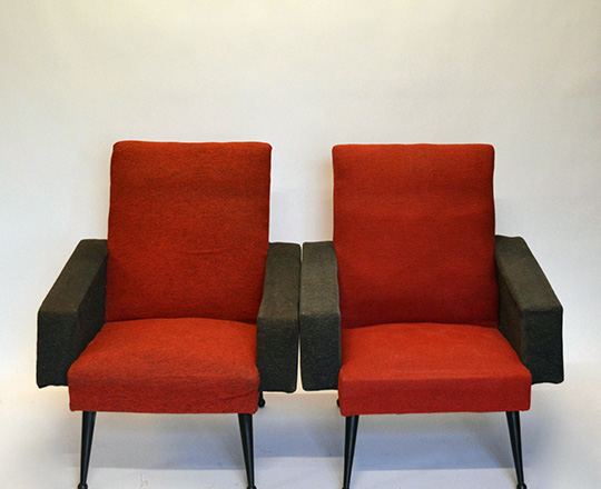 Lot 146: Pair vintage Italian? Armchairs upholstered in red & black.