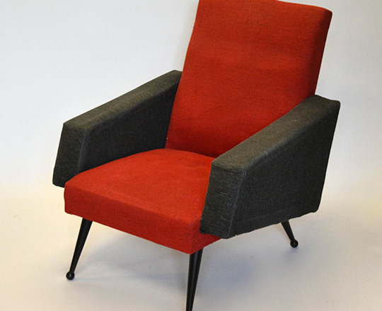 Lot 146_1: Pair vintage Italian? Armchairs upholstered in red & black.