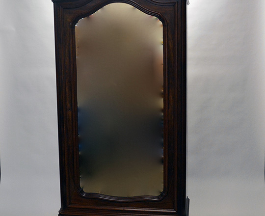 Lot 153: 19th cent Louis XV single beveled mirror door mahogany armoire. H231xW120xD52cm.