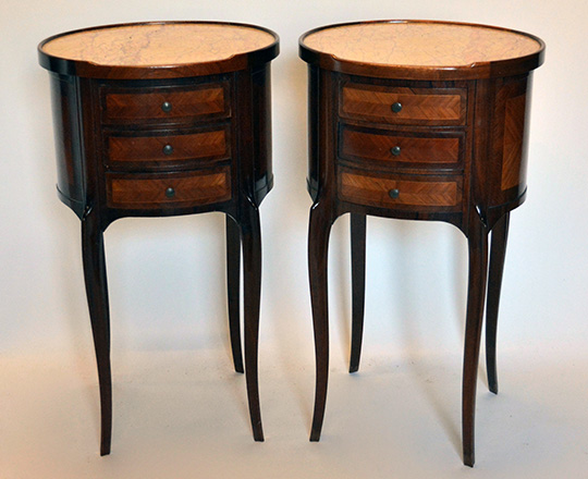 Lot 154: Turn cent Louis XV / XVI Transition three drawer, marble top rosewood and mahogany? oval side tables.