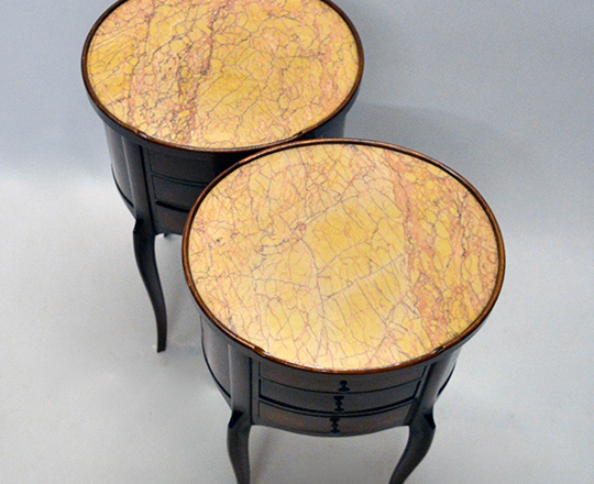 Lot 154_1: Turn cent Louis XV / XVI Transition three drawer, marble top rosewood and mahogany? oval side tables.