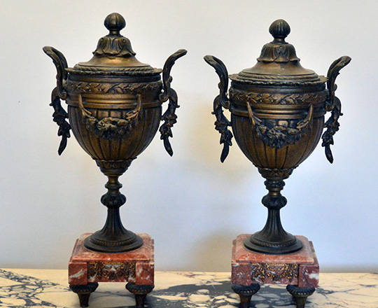 Lot 159_2: 19th c bronze wash spelter clock garniture of two puttis by fountain (of youth?) H41cm and lidded vases H39cm