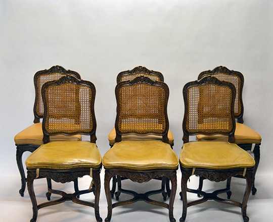 Lot 161: Set of eight caned Louis XV country chairs along with six cushions.