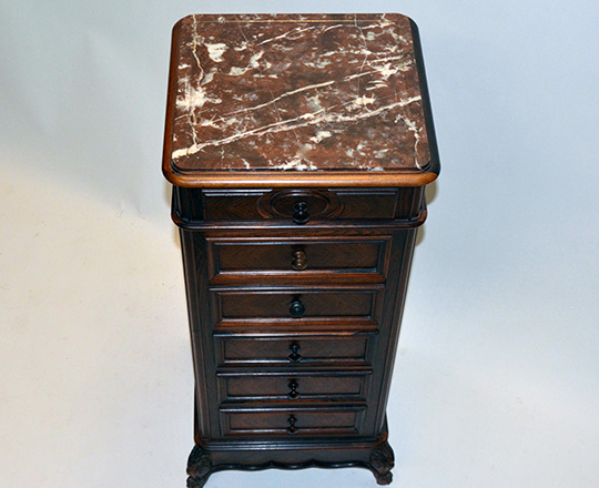 Lot 162_1: 19th cent Louis XV marble top 'faux chiffonier'. H92xW38xD36cm.