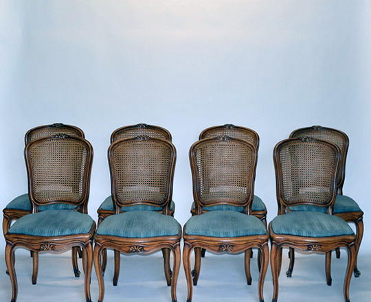 Lot 163_1: Set of Six caned Louis XV country chairs with X stretcher along with six leather cushions.