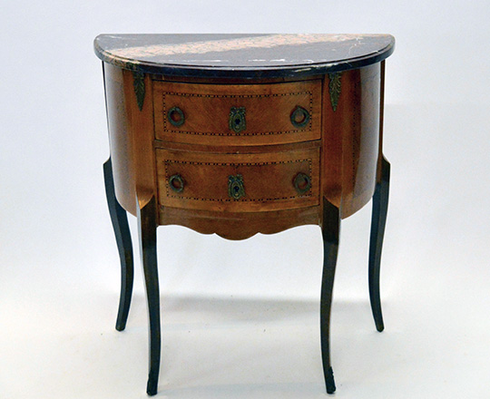 Lot 176: Early cent Louis XV two drawer, marble top 'Demi-lune' commode. H72xW66xD35cm.