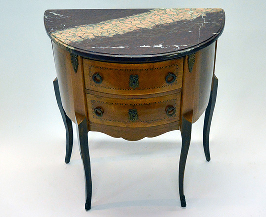 Lot 176_1: Early cent Louis XV two drawer, marble top 'Demi-lune' commode. H72xW66xD35cm.