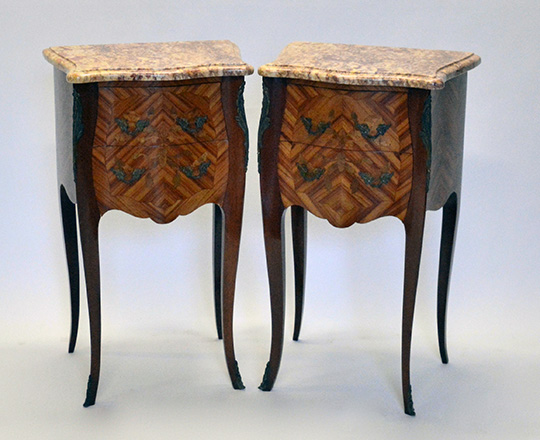 Lot 177: Pair Louis XV style two drawer, marble top side tables.
