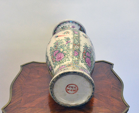 Lot 179_1: Turn cent Chinese pink family porcelaine vase with floral decor. H36cm.