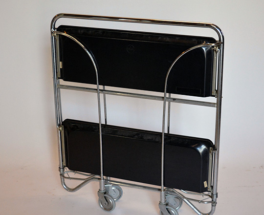 Lot 183_1: 50's/60's folding bar cart with two platters by Gerlinol. 41 x 60,5cm (platter only).