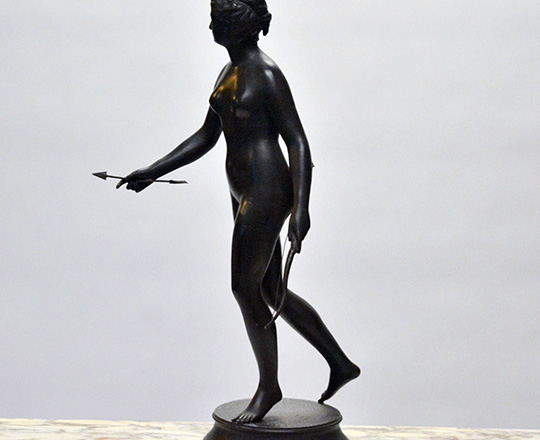 Lot 186_1: Tall 19th cent bronze wash spelter statue of Diane the huntress, H 62cm.