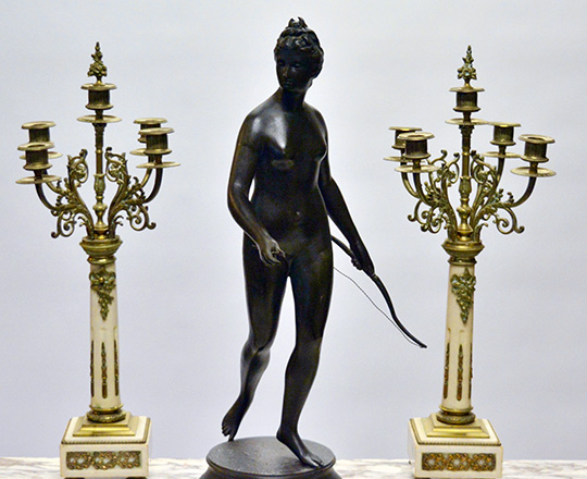 Lot 186_2: Tall 19th cent bronze wash spelter statue of Diane the huntress, H 62cm.