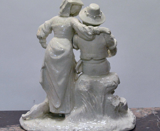 Lot 191_1: Turn cent, white varnished ceramic statue of couple with child. H 36cm.