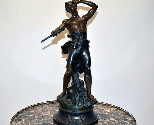 Lot 192: Large turn cent bronze wash spelter statue of man. B.G. Germain. H 64cm.