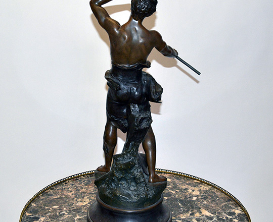 Lot 192_1: Large turn cent bronze wash spelter statue of man. B.G. Germain. H 64cm.