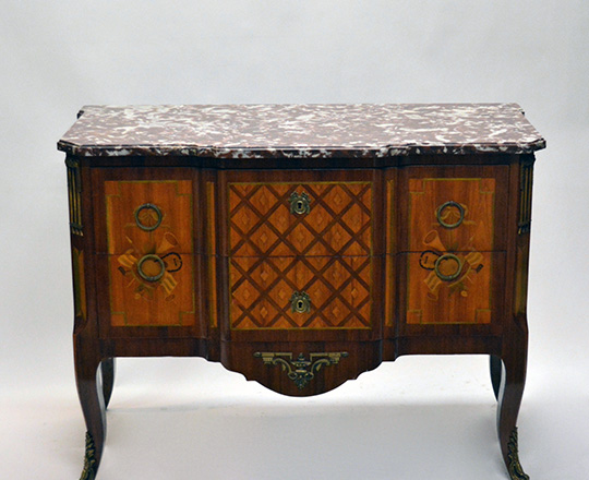 Lot 195: Elegant Louis XV / XVI Transition two drawer, marble top fine marquetry commode with musical attributes. H85,5xW111xD54cm.