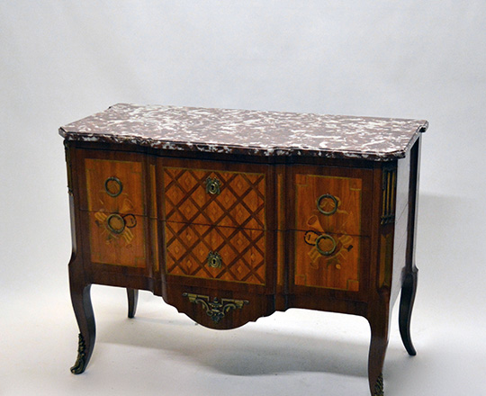 Lot 195_1: Elegant Louis XV / XVI Transition two drawer, marble top fine marquetry commode with musical attributes. H85,5xW111xD54cm.