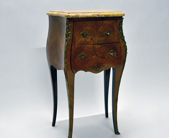 Lot 566: Louis XV style two drawer, marble top side table. H72xW43xD30cm.