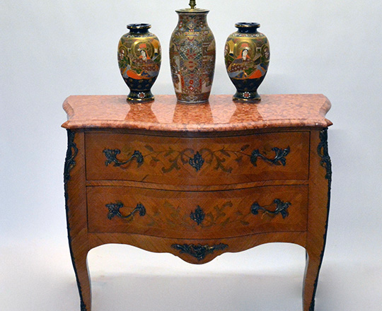 Lot 569_3: Louis XV style two drawer, marble top marquetry commode. H86xW113xD54cm.