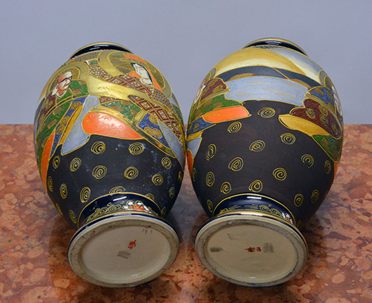Lot 570_2: Pair Satsuma vases decorated with various hand painted Japanese characters. H31cm.