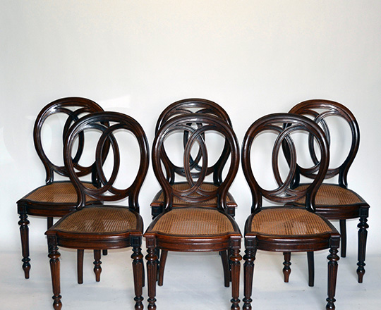 Lot 571: Set of six 19th cent Louis Ph mahogany caned seated chairs (+ one extra caned seat).