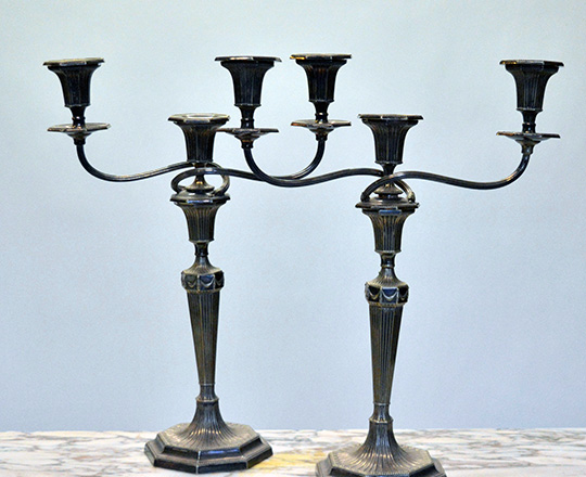 Lot 582_1: Pair early cent three light, detachable silver plated English candlesticks, H44cm.