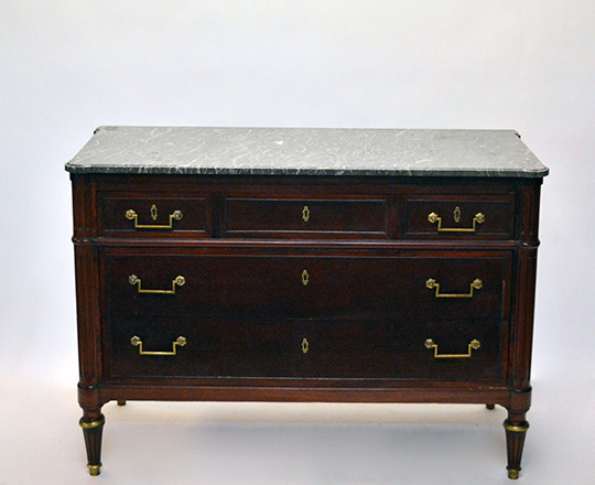 Lot 590_1: Louis XVI style three drawer, marble top mahogany commode. H83xW119xD53.5cm.