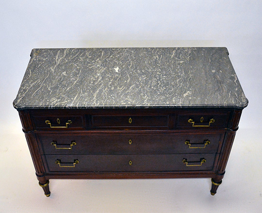 Lot 590_2: Louis XVI style three drawer, marble top mahogany commode. H83xW119xD53.5cm.