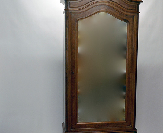 Lot 592_1: 19th cent Louis XV single mirror door walnut armoire with richly carved pediment.(5+1 shelves) H240xW110xD50cm